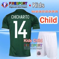 Wholesale Boys Sets Yellow - 2017 Mexico national team Kids Soccer Jerseys Child youth boys Uniform Green Kit 2018 World Cup G.Dos Santos CHICHARITO football shirt Set