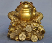 Wholesale Brass Toad - China feng shui brass wealth Yuanbao money Golden Toad Spittor bufo lucky statue