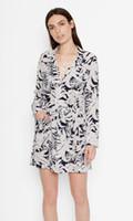 Wholesale Silk Pyjama Dress - 2017 Coconut Tree Print Long Sleeves Pyjama Style Floral Print 100% Pure Silk Soie With Sashladies Dress Summer Fall EQ One Piece Dress SY90