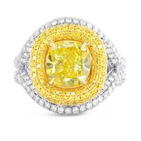Wholesale Gia Certified Halo Diamond Ring - 5.66Cts Yellow Diamond Engagement Halo Ring Set in Platinum GIA Certified