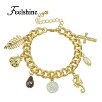 Vente en gros - Bracelet en chaîne à la nouvelle or en 2016 Simulated Pearl Water Drop Leaf Cross Shell Charm Bracelets for Women