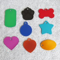Wholesale Laser Pet Tags - 10pcs Mixed color Aluminum alloy Blank Dog ID Tags Laser Engravable Pet Dog Cat Name Tags