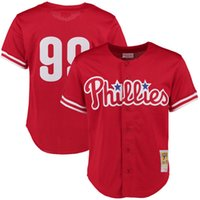 Wholesale Cheap Men Cloths - cheap Men's 99# Mitch Williams throwback baseball jerseys 100% Stitched Mitchell & Ness Red 1993 Throwback Mesh cloth Player Jersey