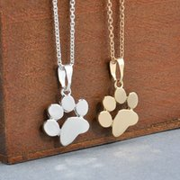 Wholesale Cute Sweaters For Dogs - Fashion Cute Pets Dogs Footprints Paw Chain Pendant Necklace Necklaces & Pendants Jewelry for Women Sweater necklace