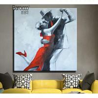 figura simple pintura al por mayor-Pintura elegante bailarín simple moderna 100% pintado a mano pintura al óleo del arte Figuras decoración de la pared principal de la sala Dormitorio