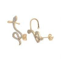 Wholesale Earring Snake 18k - Delicate Cubic Zirconia Snake Stud Earrings Shining Small Snake Ear Clip Earrings Perfect Birthday Gifts For Girls