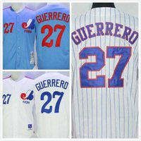 Wholesale Vladimir Guerrero Jersey Mens Expos Baseball Jerseys Throwback Full Stitched Logo Embroidery Blue White Size S XL
