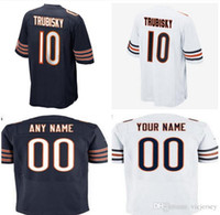 Wholesale Mens American Football Jerseys - 2017 Draft Picks No.2 Chicago #10 Mitchell Trubisky Jersey Mens Blue White Orange Stitched Mitchell Trubisky American Football Jerseys