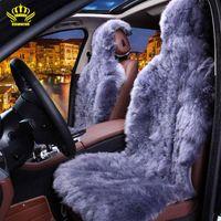 Wholesale Accessories For Automobiles - Rownfur 100% Natural fur Australian sheepskin car seat covers universal size for seat cover accessories automobiles 2016 D001-B