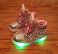 Wholesale Sneaker Infants Toddler - LED Shoes Children Wings Shoes With Light Children Glowing Sneakers Led Kids Lighted Shoes Infant Toddler Boy and Girls LED Flashing Girls