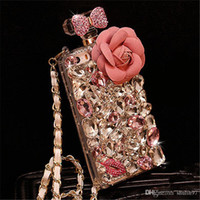 Wholesale Pink Crystal Perfume - For Samsung galaxy note 3 4 5 Diamond Crystal Rhinestone Flower Lanyard Perfume Bottle Case Cover