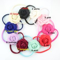 blooming felt - Colorful Spandex Nylon Headband with cm Felt Blooming Camellia Flower Baby Headband Handmade for Photography FD200