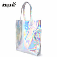 Wholesale Hop Shops - Wholesale- Women Handbag Laser Hologram Leather Shoulder Bag Brand New Lady Single Shopping Bags Large Capacity Casual Tote Bolsa Silver
