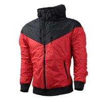 Wholesale White Windbreaker Wholesale - Spring And Fall new men's sports jacket hooded jacket Men casual Fashion Thin Windbreaker Zipper Coats Free Shipping