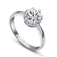 Wholesale adjustable ring nail - 925 Silver Zircon Crystal Crown Ring Adjustable Finger Ring Nail Rings for Women Bride Wedding Jewelry 080169