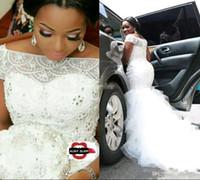 Wholesale covered bling wedding dresses - Sexy Mermaid Mermaid Short Sleeve Beaded Nigerian Plus Size White Bling Winter Steven Khalil Wedding Dresses 2018 Bridal Gwons
