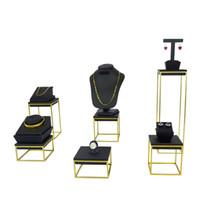 Wholesale Riser Display - Brand New High End Stainless Steel Jewelry Display Rack Black PU Bangle Riser Ring Pendant Organizer Window Display Stand Set