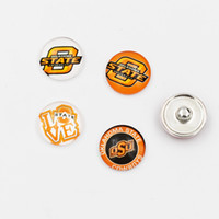 Wholesale Wholesale Collegiate Bracelets - 2 Styles Oklahoma State Snap Button 18mm Glass NCAA Collegiate Sport Team Snap Charms Fit DIY Snap Bracelet Necklace