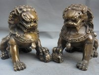 China China Folk Cobre Door Fengshui Guardião Foo Fu Dog Lion Statue Pair