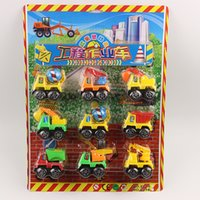 Wholesale Toy Bulldozers - 9 pcs Truck model toy kids toys plastic Engineering vehicle model Bulldozer excavator Armored vehicles Truck set