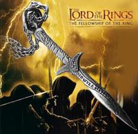 ingrosso pendente in lega di spada-Lega d'epoca placcata in argento placcato The Hobbit Thorn stab Sword Sciabola Collana con pendente a coltello A047