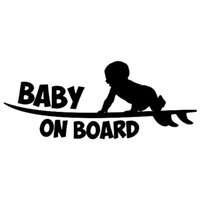 Wholesale Head Board Decal - 18.8CM*7.6CM Baby On Board Funny Vinyl Sticker Cute Surfboard Surfer Car Sticker Car Styling Decals Jdm