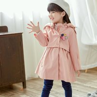 Wholesale Wholesale Leather Trench Coats - Everweekend New Fashion Kids Girls Windbreak Coats Baby Trench Coats Jackets Western Children Hooded Autumn Outwears