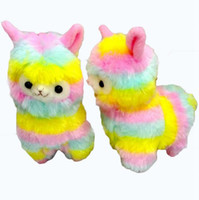 Wholesale Animal Sheep Plush - Rainbow Alpacasso Plush 13CM Cute Kawaii Alpaca Soft Plush Sheep Stuffed Animals Plush Toys Kids Doll Gift 200pcs OOA3082