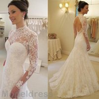 Wholesale collar neckline wedding dress - 2017 Vintage Mermaid Lace Wedding Dresses Sheer High Neckline With Long Sleeves Backless Sweep Train Bridal Gowns Vestido De Noiva Cheap