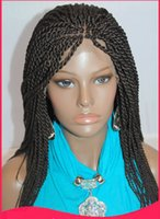 Wholesale Micro Twist - Micro Braided Lace Front Wigs Synthetic Lace Front Wig Hot Sale Wig Black Women African American Braided Havana Twist Lace Wig Free Shipping