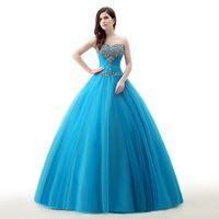 Wholesale One Shoulder 15 Dresses - Vestido De 15 Anos Debutante Gowns Sweet 16 Ball Gowns Cinderella Quinceanera Dresses Princess Turquois Quinceanera Dresses