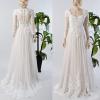 Wholesale inside dress - Illusion Sheer Button Back Champagne lining Inside Beach Bridal Gown A line Long Sleeve Lace Tulle Wedding Dress