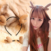 Wholesale Clip Bunny Ears - Wholesale Christmas Gift Accessories Adorable Antler Necomimi Bunny Ears Hair Clips & Barrettes For Party 15pcs lot.