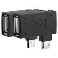 adaptateur micro coudé usb achat en gros de-Freeshipping 20Pcs / Packs USB 2.0 femelle à mâle adaptateur micro OTG port d'alimentation 90 degrés à gauche 90 angle droit