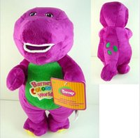 "Wholesale Love Dolls For Children - hot new 11""30cm Barney The Dinosaur Sing "" I LOVE YOU"" Song Purple Dinosaur Plush Toys Doll For Children Free Shipping"