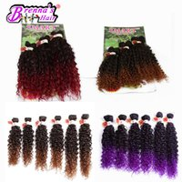 Wholesale Synthetic Feather Extensions - 6pcs pack for full head Synthetic curly weft for black women purple jerry curly hair synthetic feather hair extension africa uk