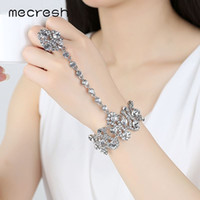 Dhgate Luxurious Geometric Crystal Rhinestone Bridal Bracelets Bangles Silver Color Wedding Engagement Jóias MSL297