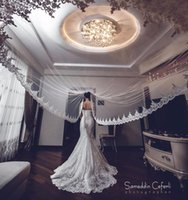Wholesale Net Metering - Hot Sale White Ivory Applique Tulle 3 Meters Long Bridal Head Veils With Comb Wedding Accessories Lace Bridal Veil veu de noiva CPA068