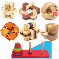 Wholesale Wholesale 3d Wood Puzzles - Wholesale- New Classic IQ 3D Wooden Interlocking Burr Puzzles Wood Hear Lock Hanoi Tower Mind Brain Teaser Game Toy for Adults Children