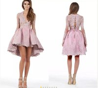 Wholesale Mini Pink Tulle Dress - 2017 Custom Made A Line Long Sleeves Hghi Low Cocktail Party Dresses Lace Applique Plunging Homecoming Gowns Prom Short Mini Dress