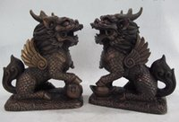 China Feng Shui Bronze Cobre Evil Dragon Beast Foo Dog Lion Kirin Kylin Statue