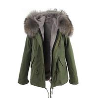 ingrosso taglio di pellicce per cappotti-JAZZEVAR fodera in pelliccia grigia 100% pelliccia di coniglio fodera army mini canvas parka giacche in pelliccia cappotti invernali come mrs style