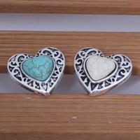 weiße metallarmbänder großhandel-10PCS Türkis Silber weiß grün Ingwer Druckknopf Schmuck für 18mm Taste Snap Metall Armband Halskette