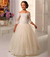 Wholesale Shoulderless Wedding Dresses - Princess Lace Flower Girl Dress Wedding Children Bridesmaid Communion A-Line Three Quarter Shoulderless Long Girl Pageant Dress
