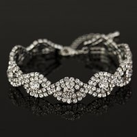 Wholesale Silver Articles Wholesale - Wholesale Gold & sliver plated Personalized Rhinestone Crystal String Charms Chain Link Bracelet for women The bride adorn article