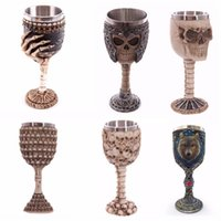 Wholesale Dragon Spoon - Wholesale- LIYIMENG Double Wall Stainless Steel 3D Skull Drinking Milk Coffee Mug Personalized Dragon Bone Skull Metal Wine Goblet Cup