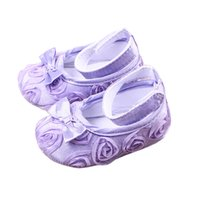 Wholesale Crib Shoes Flowers - Cute Baby Girl Floral Roses Crib Shoes Comfortable Soft Sole Bowknot Anti-Slip Sandal Princess Rose Flower Infant Toddler Shoes