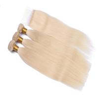 peruanischen haarbündel verkauf großhandel-9A Cheap Sale # 613 Blonde peruanische Jungfrau Remy Seidiges gerades Menschenhaar Bundles mit Spitzenspitzeschluss 3 Bundles Mit Verschluss Kostenloser Versand