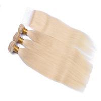 en saç demeti satışı toptan satış-9A Ucuz Satış # 613 Sarışın Perulu Bakire Remy İpeksi Düz İnsan Saç Demetleri Ile Üst Dantel Kapatma 3 Demetleri Ile Kapatma ücretsiz Kargo