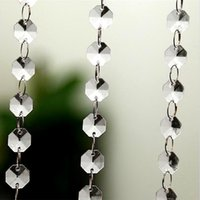 Wholesale Crystal Window Beads - Wholesale-5 Meters Crystal Octagon Beads Curtain Glass Strings Window Door Curtain Porch Partition Home Wedding Party Decoration DIY